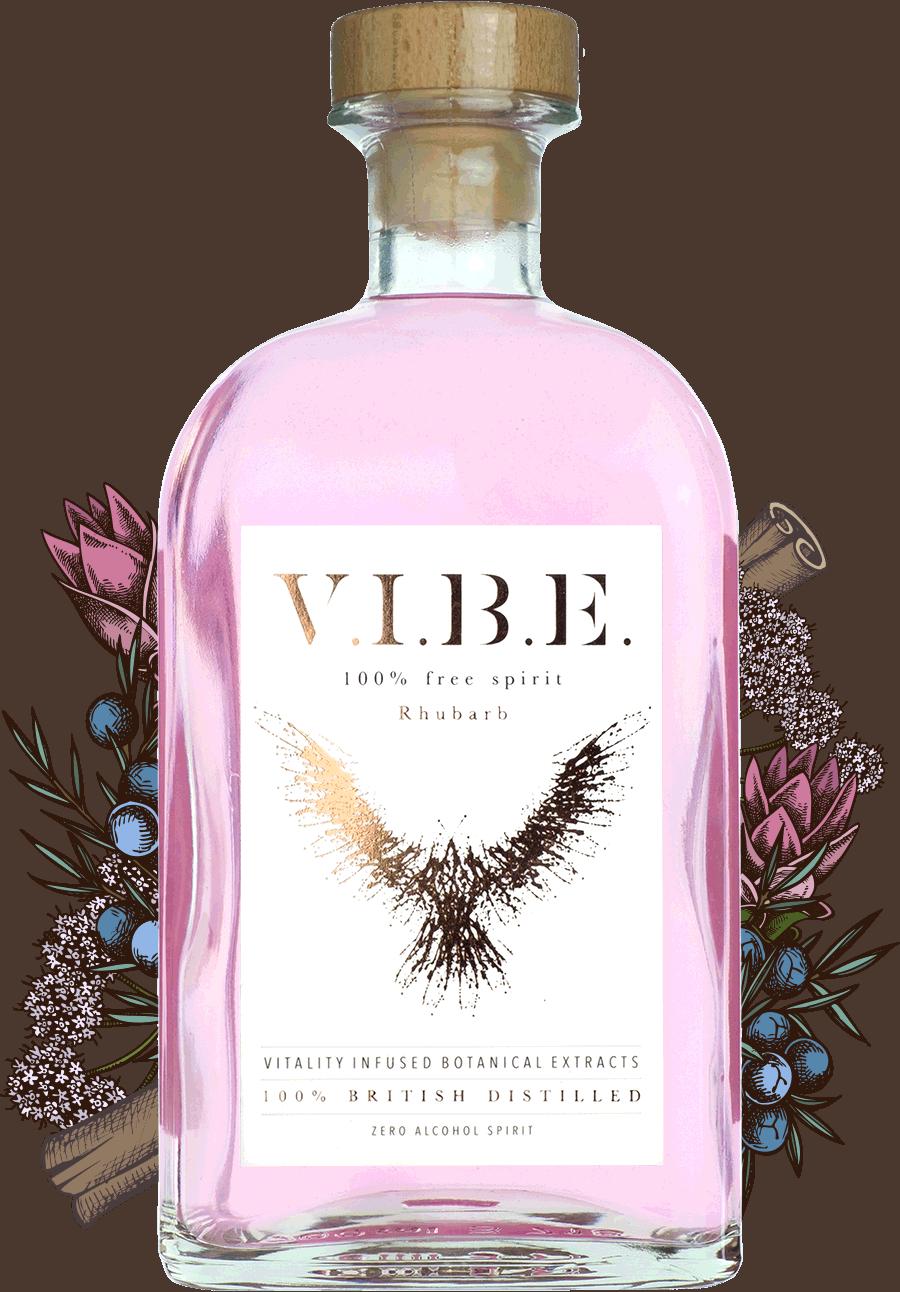 VIBE rhubarb non-alcoholic spirit bottle botanicals