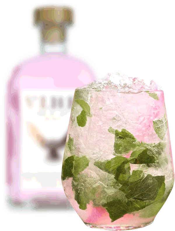 vibe rhubarb bottle and cocktail in glass
